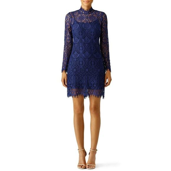 Erin Fetherston Sloane Lace Dress 10 High Neck